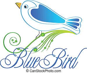 konzervativní, ilustrace, emblém, ptáček, vektor