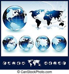 konzervativní, koule, mapa světa