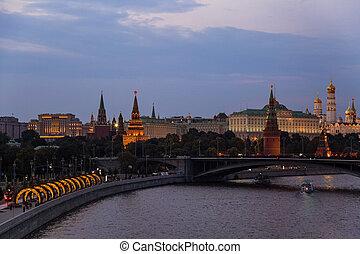konzervativní, můstek, sky., moskva, pod, řeka, kreml, názor