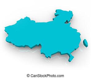 konzervativní, mapa, -, čína