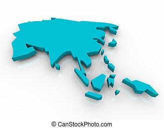konzervativní, mapa, -, asie