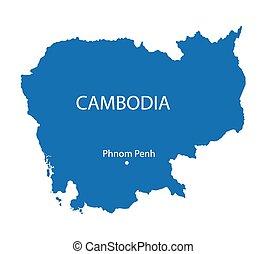 konzervativní, mapa, kambodža