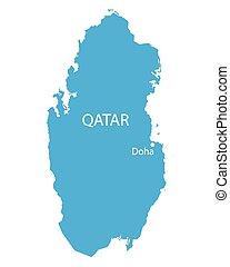 konzervativní, mapa, qatar