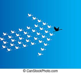 konzervativní, ponurý, pojem, řídit, let, labuť, nebe, číslo, hlubina, synergy, na, vůdcovství, ilustrace, grafické pozadí, big, :, labuti, úvodník