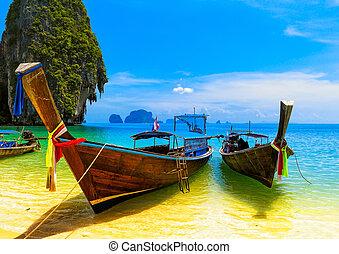 konzervativní, scenérie, krajina, boat., druh, dřevěný, ostrov, pohybovat se, nebe, obrazný, tradiční, docházet, překrásný, ráj, thajsko, pláž, summer., namočit