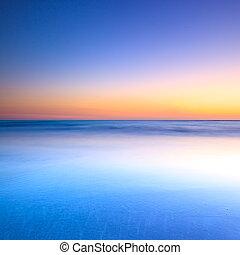 konzervativní, soumrak, oceán, západ slunce, běloba vytáhnout loď na břeh