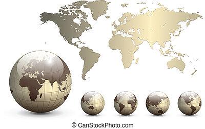 koule, mapa, hlína, společnost