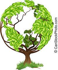 koule, strom, nezkušený, concep, hlína, společnost