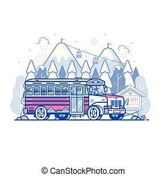 kovadlový, hora, lyovat uchýlit se, autobus