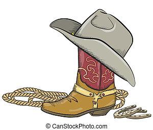 Kovboj s západním kloboukem na bílém