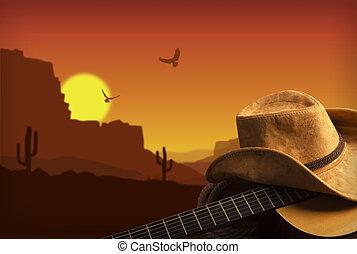 kovboj, země, kytara, americký, hudba, grafické pozadí, klobouk