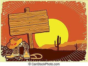 Kovbojova krajina. Divoké západní pozadí západu slunce