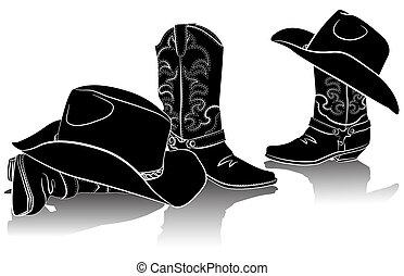 Kovbojské boty a západní klobouky. Černokresní obraz na bílém pozadí