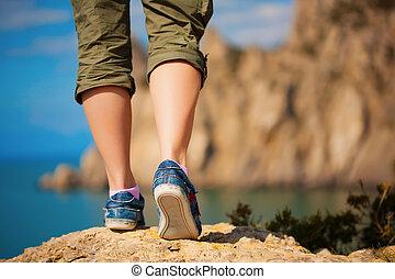 kráčet, kecky, samičí, tourism.