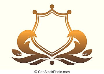 král, chránit, zlatý, emblém