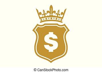 král, dolar, chránit, zlatý, emblém