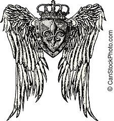 královský symbol, křídlo, čepobití