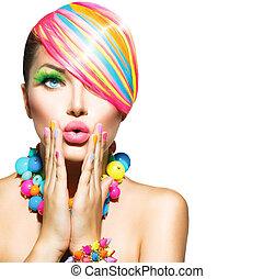 Kráska s barevným make-upem, vlasy, nehty a doplňky