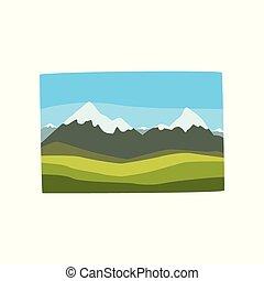 Krásná georgická krajina s horskými vrcholy, zelené hory a modré nebe. Místo činu. Cestovat do Georgie. Tlakový vektor ikon