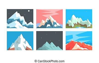 Krásná horská kolekce, mírumilovná krajina, sněžná horská vrcholy v různých časech vektoru