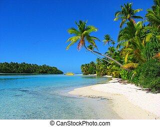 Krásná pláž na jednom ostrově, aitutaki, kuchařské ostrovy