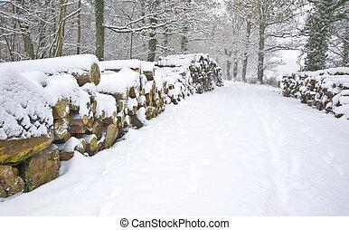 Krásná zimní sněžná scéna s hlubokým sněhem a čerstvým dřevem dlažděm po stranách