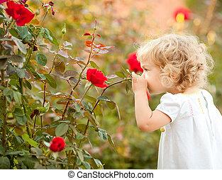 Krásné dítě vonící růži