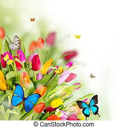 Krásné jarní květiny s motýly