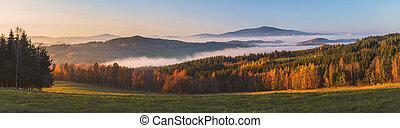 krajina, čech, -, mlhavý, povstání, republika, západ slunce, klet, hory, čistý, mlha, nebe, hora, mračno