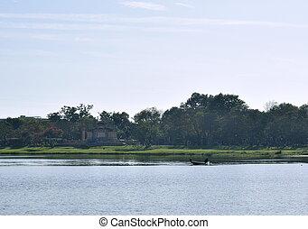 krajina, člun, vietnam, řeka, dřevěný, rybolov