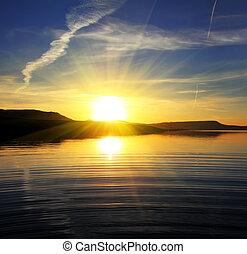 krajina, jezero, východ slunce, ráno