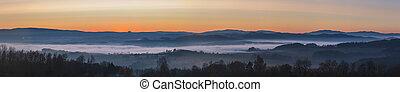 krajina, mlhavý, povstání, západ slunce, hory, čistý, mlha, nebe, mračno