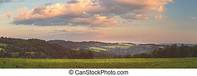 krajina, západ slunce, překrásný, louky, vyvýšenina