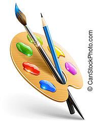 kreslit, paleta, umění, líčit zavadit, otesat dlátem, kreslení