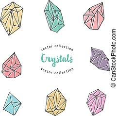 krystalový, základy, -, rukopis, nahý