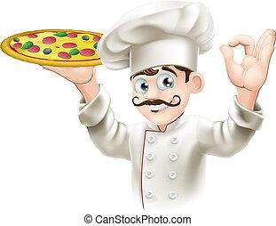 Kuchař má chutnou pizzu