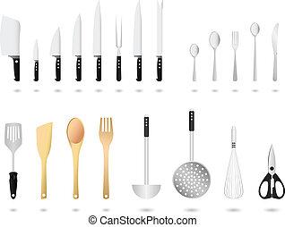 kuchyňská potřeba, vektor, dát, kuchyně