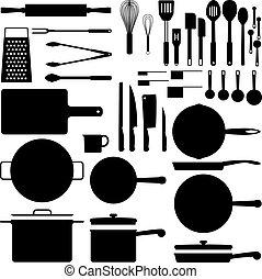 kuchyně kuchyňská potřeba, silueta