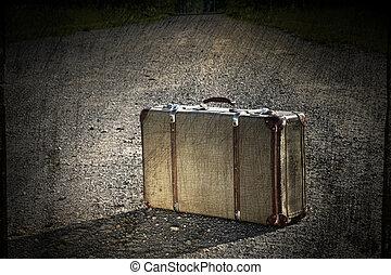 kufr, dávný, levice, cesta, bláto