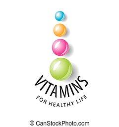 kule, vitamín, forma, vektor, emblém, barevný