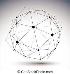 kulovitý, di, barva, abstraktní, ilustrace, svobodný, vektor, linkovaný, 3