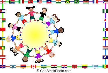 kulturní, děti, vlaječka