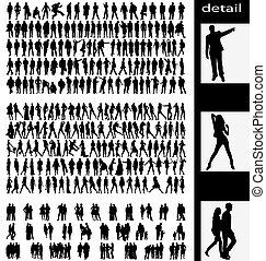 kuplovat, muži, silhouettes, manželka, goups