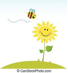 květ, šťastný, pramen, včela