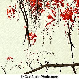 květ, handmade článek, strom, červeň