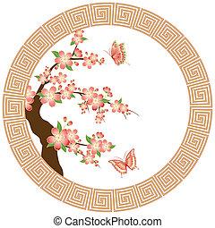 květ, třešeň, tapeta, orientální
