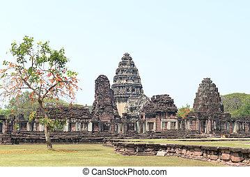 květen, prasat, phimai, sanctuary., hin, historický, sad, phi, khmer