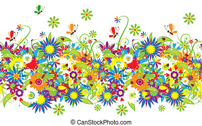Květinová kytice, letní ilustrace
