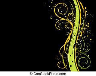 květinový, čerň, grunge, grafické pozadí