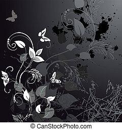 květinový, grunge, motýl, design